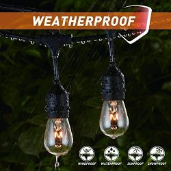 48Ft Weatherproof Outdoor Patio String Lights with E26 Base Sockets & S14 Bulbs, Hanging Mar ...