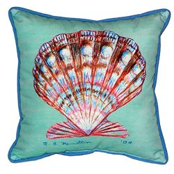Betsy Drake Scallop Shell Extra Large 22 X 22 Indoor / Outdoor Teal Pillow