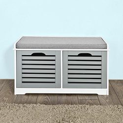 SoBuy Storage Bench with 2 Drawers & Removable Seat Cushion, Shoe Cabinet Shoe Bench, FSR23-K-WN