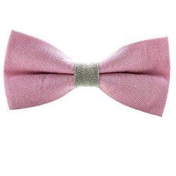 Gazebo Green Pre-Tied Preppy Linen Bow Tie (Pink / Grey)