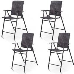 Giantex Folding Wicker Rattan Bar Chairs Tall Stool with Back Steel Frame Portable Outdoor Indoo ...
