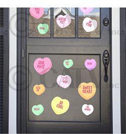 Valentine's day conversation heart reusable self adhesive fabric vinyl decals (Set of 45,  ...