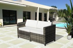 PATIOROMA Loveseat Patio Furniture Sofa All-Weather Grey PE Wicker Furniture with White Back Cus ...