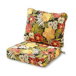 Greendale Home Fashions Deep Seat Cushion Set, Aloha Black