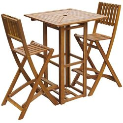 vidaXL Patio Bar Table and Chairs Set Acacia Wood Outdoor Restaurant Cafe Pub