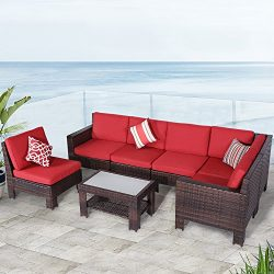Diensday Outdoor Furniture 7-Piece Sectional Sofa Set All Weather Brown Wicker Deep Seating with ...