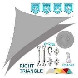 Coarbor Waterproof 15'x15'x21.2′ Light Grey Right Triangle Sun Shade Sail Cano ...