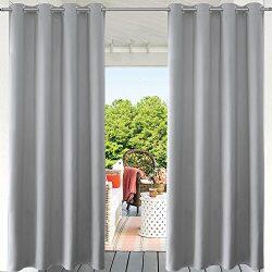 PRAVIVE Grey Patio Outdoor Curtain – Indoor/Outdoor Patio Gazebo Pergola Cabana Eyelet Top ...