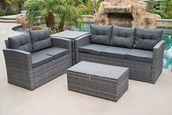 Belleze 4 Piece Wicker Outdoor Sofa Set All Weather Dual Storage Ottoman Washable Cushions Secti ...