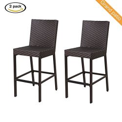 Grand patio 2 PCS Outdoor Wicker Bar Chairs, Weather-Resistant Patio Bar Stools, Brown