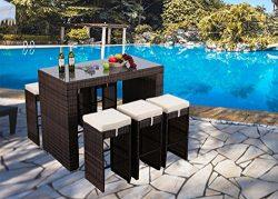 Do4U 7-Piece Outdoor Rattan Wicker Bar Dining Patio Furniture Set w/Glass Table Top, 6 Stools (M ...