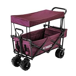 ENKEEO Foldable Utility Wagon Collapsible Sports Outdoor Cart with Removable Canopy, Large Capac ...