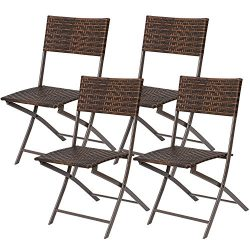 Flamaker Folding Patio Chairs PE Wicker Rattan Chair 4 Pieces Patio Furniture Set(Brown 4 pack)
