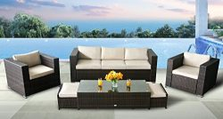 Oakside Outdoor Sectional Patio Furniture Sofa Set Modern Aluminum Rattan Wicker 6Pcs Couch Conv ...