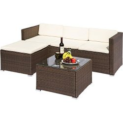 Leisure Zone Rattan Patio Furniture Set Wicker Sofa Cushioned Sectional Furniture Set Garden Pat ...
