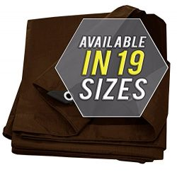 Tarp Cover Brown/Black Heavy Duty Thick Material, Waterproof, Great for Tarpaulin Canopy Tent, B ...
