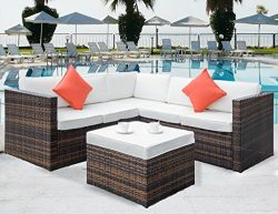 Leisure Zone 4 PCS Outdoor Cushioned PE Rattan Wicker Sectional Sofa Set Garden Patio Furniture  ...