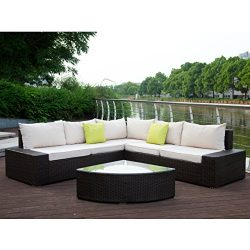 U-MAX 6 Pieces Patio PE Rattan Wicker Sofa Outdoor Sectional Patio Furniture Sets (Brown Rattan+ ...