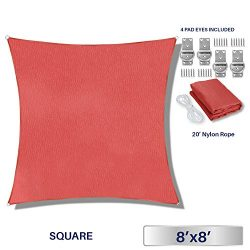 Windscreen4less 8′ x 8′ Square Sun Shade Sail – Solid Red Durable UV Shelter C ...