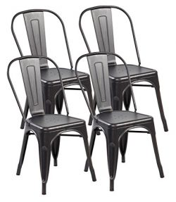 eurosports Vintage Design Strackable Metal Dinning Chairs with Back Tolix-Style for Indoor-Outdo ...