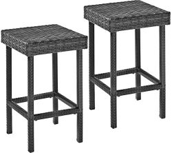 Crosley Furniture Palm Harbor Outdoor Wicker 24-inch Counter Height Stools – Grey (Set of 2)