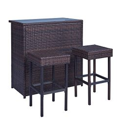 Palm Springs Wicker Style 3 Piece Outdoor Bar Set with Stools – High Bar Table with Glass  ...
