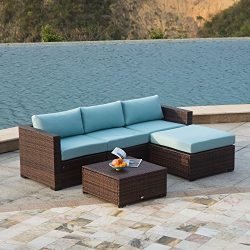 AURO Outdoor Furniture 5-Piece Sectional Sofa Set All-Weather Brown Wicker with Water Resistant  ...
