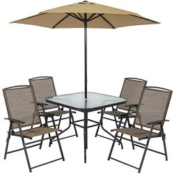 Best Choice Products 6pc Outdoor Folding Patio Dining Set W/ Table, 4 Chairs, Umbrella and Built ...