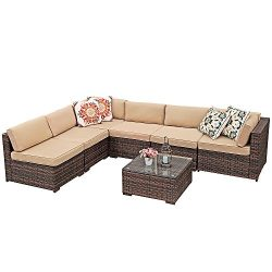 Super Patio Outdoor Furniture Sectional Sofa Set (7-Piece Set) All-Weather Brown Wicker with Bei ...