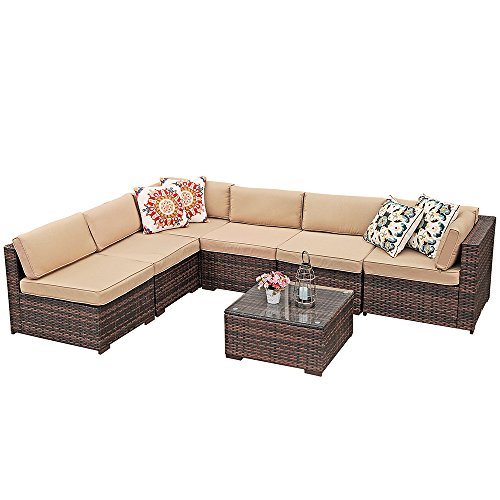 Super Patio Outdoor Furniture Sectional Sofa Set 7 Piece