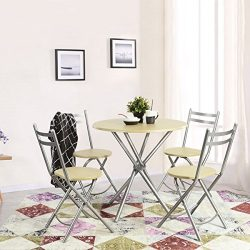 Ihouse 5 Piece Wood Round Dining Tea Coffee Patio Table and Folding Chairs Set for Kitchen,Garde ...