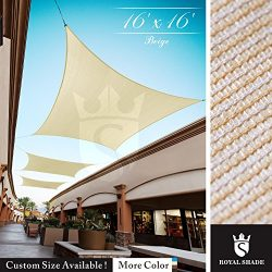 Royal Shade 16′ x 16′ Beige Square Sun Shade Sail Canopy Outdoor Patio Fabric Shelte ...