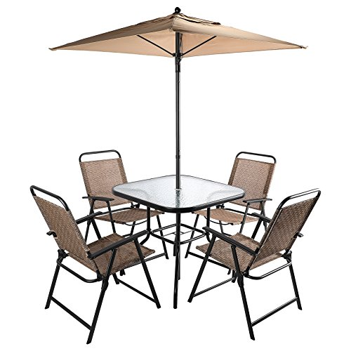 Co Z 6 Pieces Outdoor Folding Patio Set With Table 4