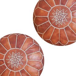 set of 2 Premium Handmade Moroccan leather Light Brown Ottoman Poufs (stitched in white) Genuine ...