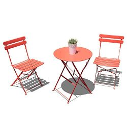 Orange Casual Outdoor 3 Pieces Patio Bistro Set Folding Steel Furniture Balcony Table and Chairs ...