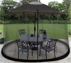 9 foot Outdoor Umbrella Table Screen Black Mosquito Bug Insect Pest Net Patio Cover