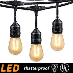 48FT Outdoor Cafe String Lights with 15 Shatterproof LED S14 Edison Bulbs-UL Listed Commercial G ...
