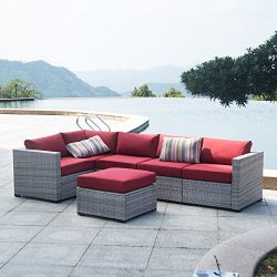 AURO Outdoor Furniture Sectional Sofa Conversation Set (6-Piece Set) All-Weather Gray Wicker Sea ...