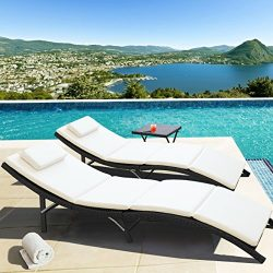 Homall 3 Pieces Outdoor Patio Chaise Lounge Chair Poolside Furniture Set Portable And Folding Wi ...