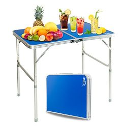 VINGLI Folding Camping Table with Carrying Handle, Portable Height Adjustable Legs, Multi Purpos ...