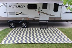 Rv Mat Patio Rug Chevron Pattern 9×16 Tan/Charcoal