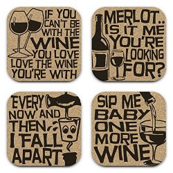Funny Drunk Lyrics Wine Coasters – Gift Set of 4
