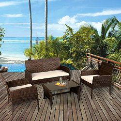 Tangkula 4 Piece Patio Furniture Set All Weather Outdoor Lawn Garden Pool Balcony Wicker Steel F ...