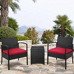 Palm Springs Outdoor 3-Piece Patio Rattan/Wicker Style Furniture Conversation Set – 2 Chai ...