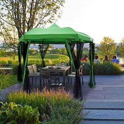Quictent Hexagon Metal Gazebo with Netting Pergolas Screened Gazebo Canopy Heavy Duty and Waterp ...