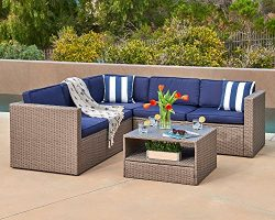 Suncrown Patio Sectional Set 4-Piece Gray Wicker Outdoor Sofa furniture with Rattan Couch,Navy B ...