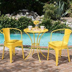 Leona Outdoor Iron 3 Piece Bistro Set (Matte Yellow)