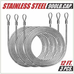 ColourTree 36 Feet (12ft x 3) PVC Coated Stainless Steel Metal Wire Cable Ropes Hardware Kits Fo ...