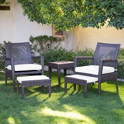 AURO Brisbane Outdoor Furniture | 5-Piece Lounge Chair & Ottoman | All-Weather Brown Wicker  ...