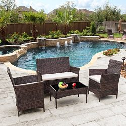 Flamaker Outdoor Furniture Patio Set Cushioned PE Wicker Rattan Chairs with Coffee Table 4 PCS f ...